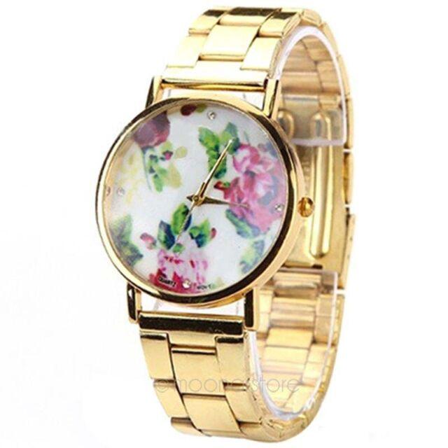Donna vintage Rose fiore in acciaio inox a Ginevra quarzo orologio da polso anal