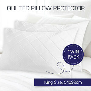 2 X Aus Made Quilted King Size Pillow Protectors Case Cotton Cover