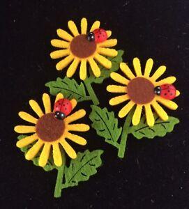 5-X-Felt-Sunflower-Applique-Embellishments-60x50mm-With-Ladybug
