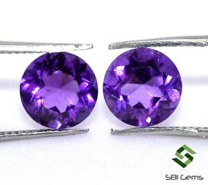 2-44-Cts-Certified-Natural-Amethyst-Round-Cut-Pair-7-mm-Calibrated-Gemstones