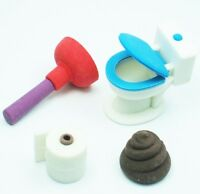 WACKY erasers collectible rubber PUZZLE eraser toilet