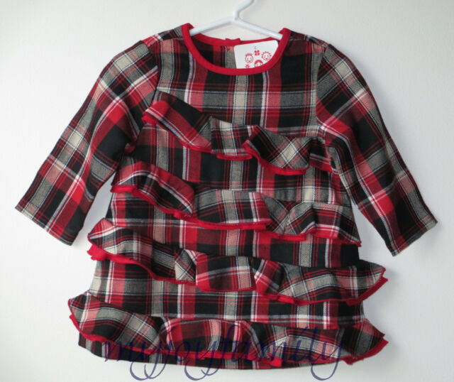 HANNA ANDERSSON Jingle All The Way Ruffle Dress Black Red Plaid 90 3T 3 NWT