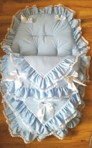 Baby/'s Cosy Toes Footmuff 3-in-1  BLUE double lace with white LARGE bows