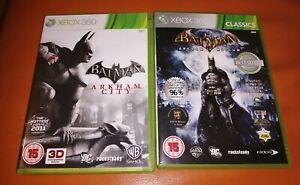 2-Xbox-360-Spiele-Batman-Arkham-Asylum-und-Arkham-City-beide-Lovely-mit-Handbuecher