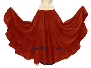 TMS Multi Cotton 10 Yard 3 Tier Skirt BellyDance Gypsy Flamenco Tribal Jupe Robe
