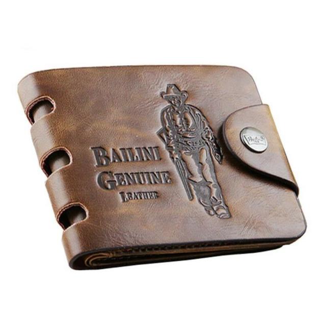 Luxury Genuine Leather Mens Wallet Card Credit Holder Brown Vintage Two Fold