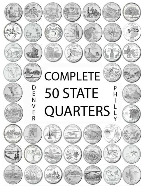 """1999-2008 US State Quarters Complete Uncirculated Set """"D"""" 50 coins"""