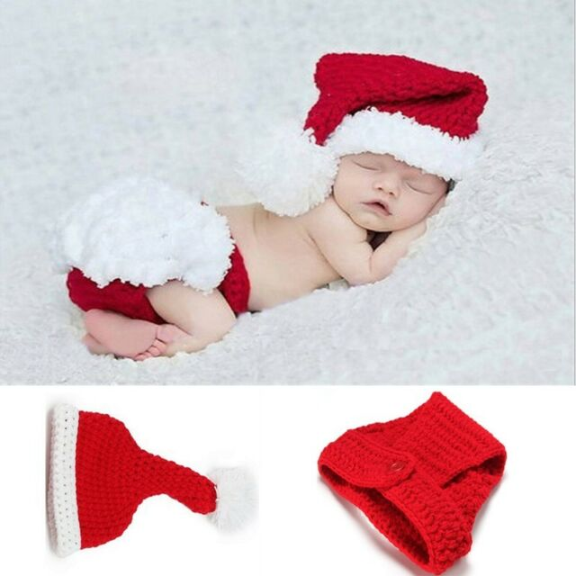 Cute Baby Boys Girls Knit Hat Christmas Santa Outfits Crochet Costume Photo  Prop - Cute Baby Boys Girls Knit Hat Christmas Santa Outfits Crochet