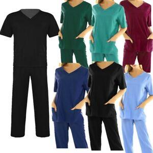 Unisex Medical Doctor Nursing Uniform Hospital Scrub Top Long Pants #S-XXXL