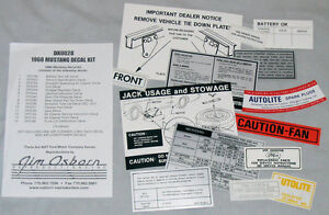 1968-Ford-Mustang-Decal-Kit-68-engine-trunk-battery-tyre-jack-etc-great-saving