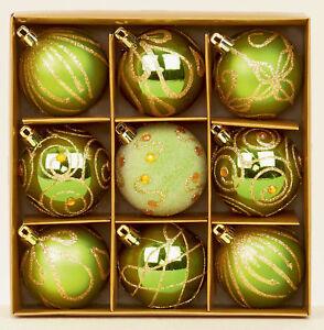 9-X-Vert-Decore-Sapin-de-Noel-Boules-Decorations-Melange-Finition