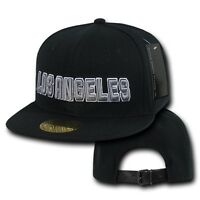 Black Los Angeles Vintage La California 3d Cali Flat Bill Retro Ball Cap Hat