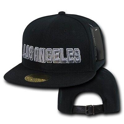 Black Los Angeles Vintage LA California 3D Cali Flat Bill Retro Ball Cap Hat