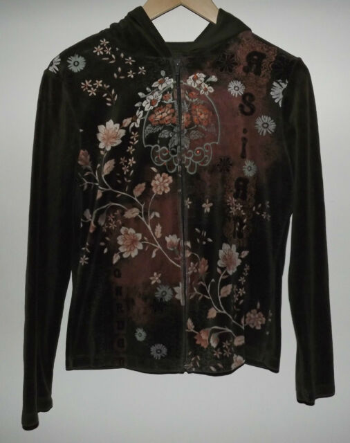 Susan Lawrence Women's Small Hoodie Zip-Up Asian Garden Floral Print Theme LS