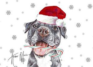 Single Large Luxury Staffie Staffy Christmas Card Gift//Present Dog