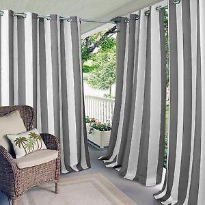 Elrene Aiden Stripe Indoor Outdoor Grommet Window Panel Curtain