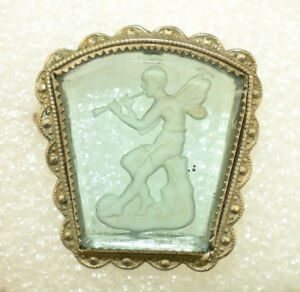 ANTIQUE-REVERSE-ETCHED-INTAGLIO-BLUE-GLASS-POT-METAL-PIN-GABRIEL-ANGEL-amp-HORN