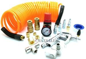 Air-Compressor-Tire-Hose-Kit-Inflate-20-Pcs-Accessory-Piece-Nozzles-Recoil-Set