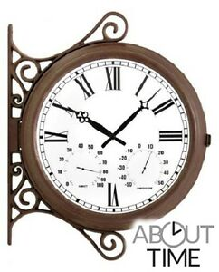 Details About Outdoor Garden Station Clock Double Sided Decoration  Thermometer U0026 Humidity Dial