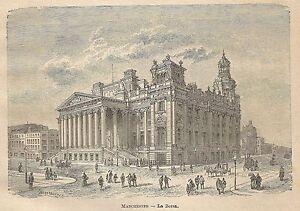 A0055 Manchester - La Borsa - Animata - Stampa Antica Del 1907 - Xilografia