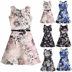 c3e734f3f6fc1 Image is loading Childrens-Kids-Girls-Sleeveless-Scuba-Floral-Round-Neck-