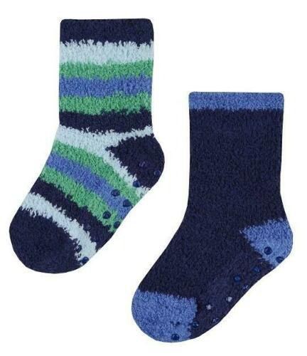 2 PRS BOYS COSY SOCKS ANTI SLIP//SKID GRIPPERS 0-0 0-2.5 3-5.5 BLUE//RED//NAVYGREEN