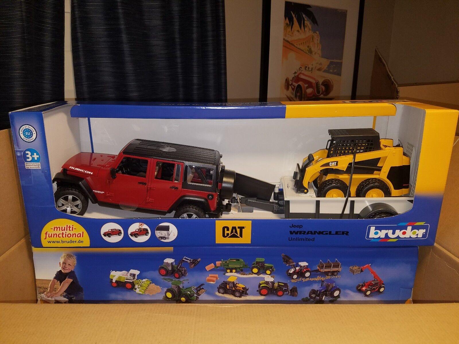 Bruder Toys Jeep Wrangler Unlimited Rubicon Avec Remorque & Chat Skid Steer Loader