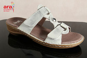 ARA-Sandalias-zapato-abierto-piel-autentica-Plata-CIERRE-ADHESIVO-37273-NUEVO