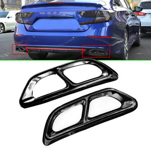Black Titanium Rear Cylinder Exhaust Pipe Cover Trim For Honda Accord 2018 2019