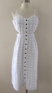 5224e0c6eaa Image is loading New-Madewell-Windowpane-Cutout-Cami-Midi-Dress-White-