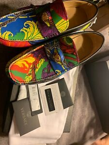 Versace-Vitello-St-Barocco-Car-Shoe-41-5-New-With-Box-And-Authenticity-Card