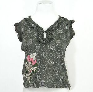 6721563c9248a1 Ladies Ted Baker 100% cotton brown grey blouse size 2 UK 10 floral ...
