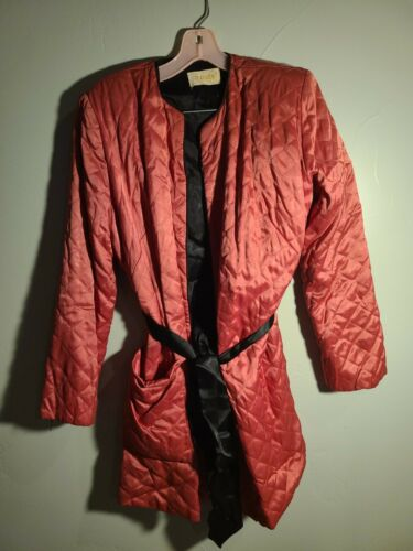 VINTAGE 1940'S ART DECO TEXTRON QUILTED SATIN ROBE