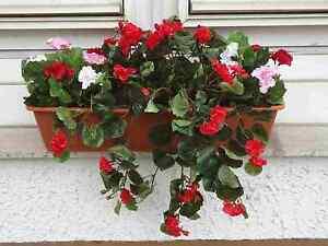 Kunstliche Blumen Pflanzen Balkonkasten Teracotta Mit Geranien