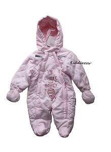 828dcf0e5 Baby girls pink SNOWSUIT 0-3 months 2 zips warm hooded winter coat ...