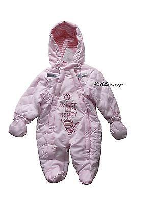 Baby girls pink SNOWSUIT 0-3 months 2 zips warm hooded winter coat double zip
