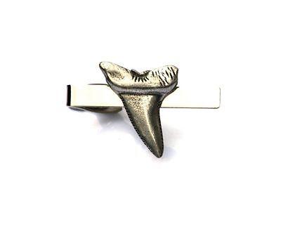 Shark Tie Clip Bar Tack Slide Mens Pewter Marine Nature Gift Present