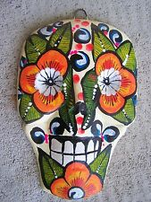Day of the Dead Painted Skull Papier Mache Mask, White with Flowers - Mexico