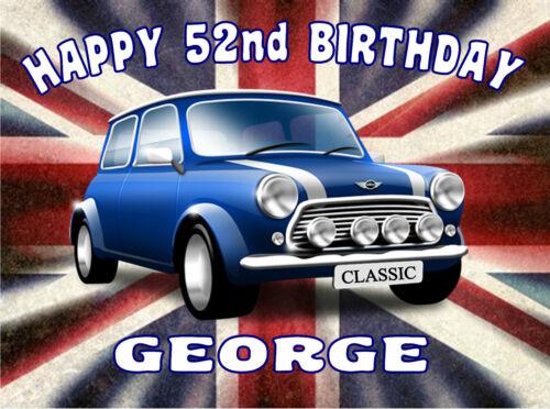 Edible Classic Car Mini Cooper Union Jack Icing Mens Happy