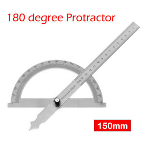 Stainless-Steel-Protractor-180-Degree-Rotation-Angle-Ruler-Measure-150mm-Tool