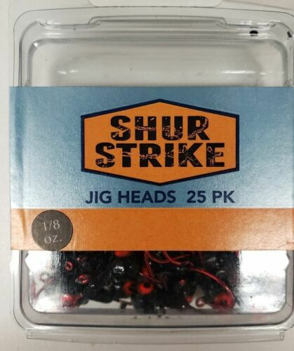 Shur Strike Jig Heads 1//8 oz BLACK //RED EYE 25 VALUE pack   Walleye,Bass,Panfish