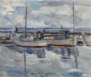 Fishing Boats in the port of Skagen ODA Peters 1894-1987 Denmark 43 x 51 cm