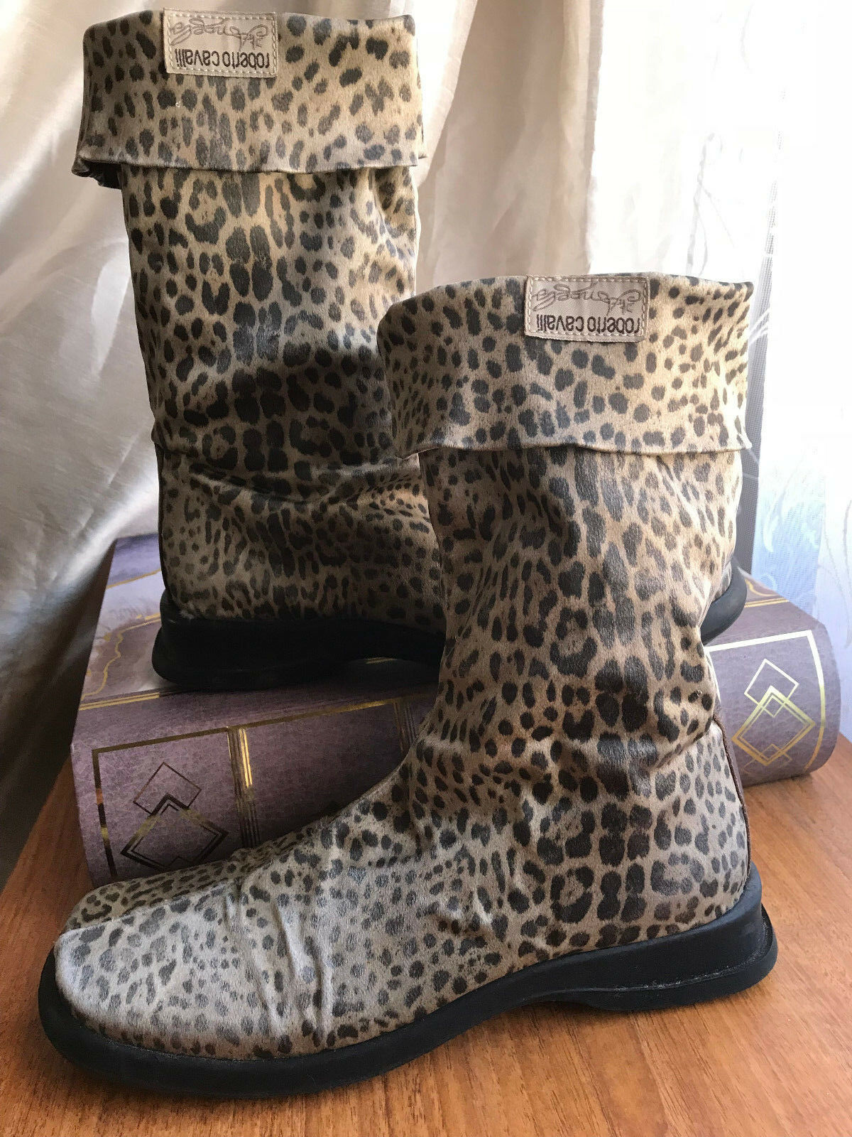 ROBERTO CAVALLI  ANGELS animal print elastic satin boots, size EU 38 UK 5, sandy