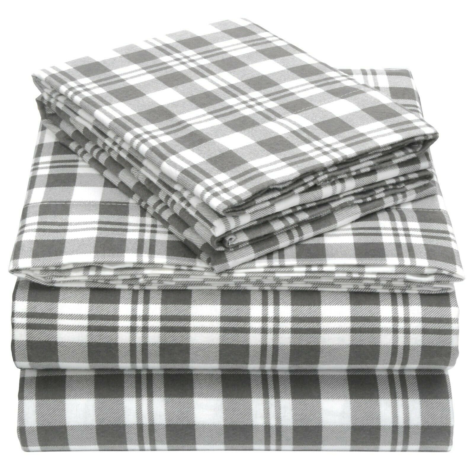 100% Cotton Flannel Sheet Set by EnvioHome - grau Plaid