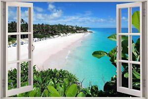 Huge-3D-Window-view-Exotic-Ocean-Beach-Wall-Sticker-Film-Decal-339