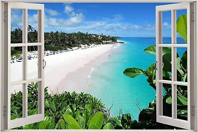 Énorme 3D hublot exotique Ocean Beach view Wall Stickers Film Autocollant Papier Peint 405