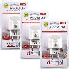 3 LED Nachtlicht mit Dämmerungssensor 1 LED 4,5x2,5cm für Steckdose 360° drehbar