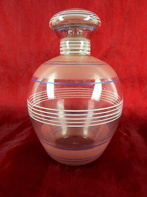 Bellissima Bicchieri Da Decanter Caraffa Vetro Con Tappo Strisce 70er Molto Decorativa- Beneficiale Per Lo Sperma