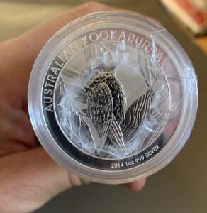 Sealed-Roll-of-20-Encapsulated-2014-1-Oz-Silver-Australian-Kookaburra-Coins