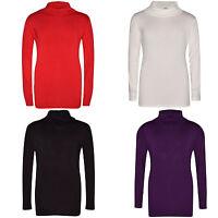Girls Kids Children New Winter Plain Polo Neck Long Sleeve Top T-Shirt Age 7-13